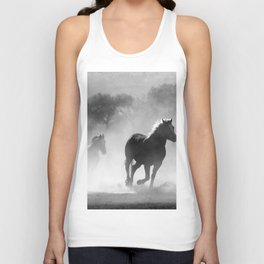 Black and White Running Horses Unisex Tank Top