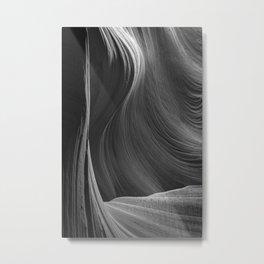 Elegance Antelope Canyon Arizona Abstract Black & White Landscape Metal Print