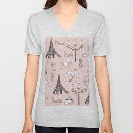 Paris Girl - Pink Unisex V-Neck