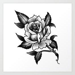 Black And Grey Rose Art Print