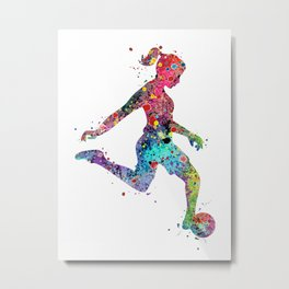 Girl Soccer Player Watercolor Print Sports Print Soccer Player Poster Metal Print