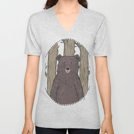 Portrait of a Bear Unisex V-Neck