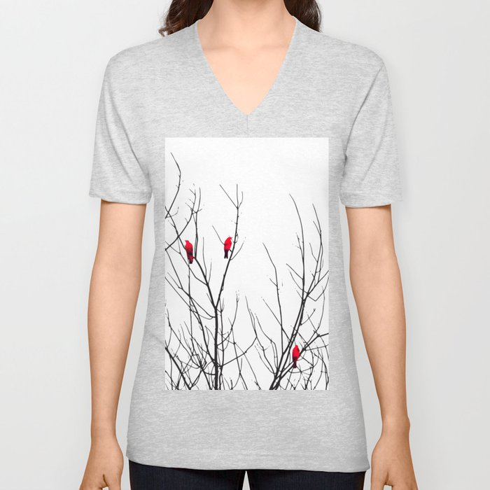 Artistic Bright Red Birds on Tree Branches Unisex V-Neck