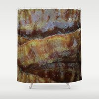 bacon Shower Curtains featuring Bacon by John Grey
