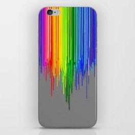 Rainbow Drips Gray iPhone Skin