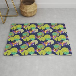 Waterlilies in a pond seamless pattern Rug