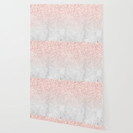 She Sparkles Rose Gold Pink Concrete Luxe Wallpaper