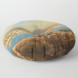The Bay of Naples, Italy by Gustav Zick Floor Pillow