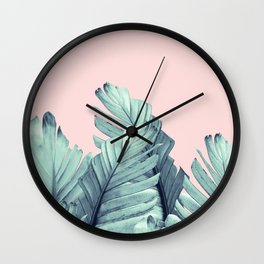 Blush Banana Leaves Dream #5 #tropical #decor #art #society6 Wall Clock