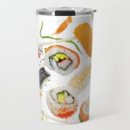 sushi rolls and ingredients with wooden chopsticks isolated on white background Travel Mug