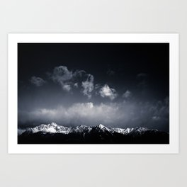 Mountain Peaks during Winter, Black and White Art Print