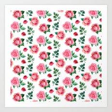 Watercolor roses Pink flowers Romantic pattern botanical Floral birthday gift Art Print