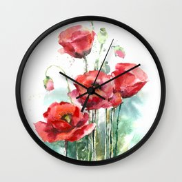 Watercolor red poppies flowers Wall Clock