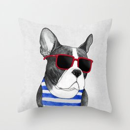Frenchie Summer Style Throw Pillow