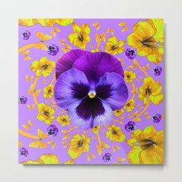 PURPLE PANSIES YELLOW BUTTERFLY FLOWERS Metal Print