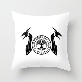 Norse Dragon - Yggdrasil Throw Pillow