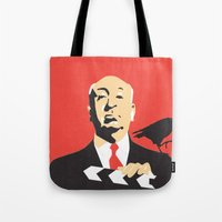 hitchcock Tote Bags featuring Hitchcock by berg with ice