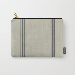 Grey Stripes on Linen color background French Grainsack Distressed Country Farmhouse Carry-All Pouch