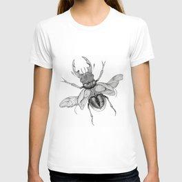 Dotwork Flying Beetle Illustration T-shirt