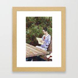 Reading a letter in the garden  - 20s Framed Art Print