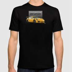 Porsche 911 GT3 RS in Racing Yellow Mens Fitted Tee MEDIUM Black