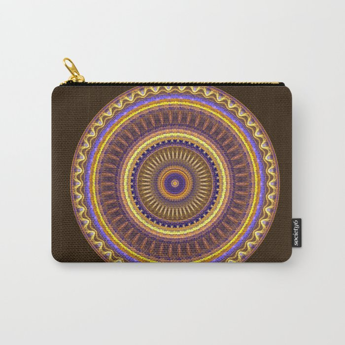 Groovy mandala with waves and tribal patterns in brown, yellow, blue and purple Carry-All Pouch
