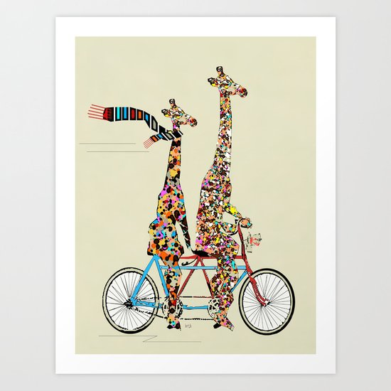 giraffe days lets tandem Art Print