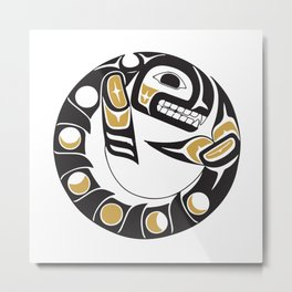 Northwest Pacific American Native Totem In Gold No. 8 Metal Print