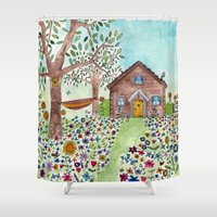 cabin Shower Curtains featuring Spring Cabin by Flora Fricker