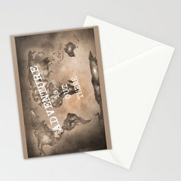 Adventure is out there. Stars world map. Sepia Stationery Cards