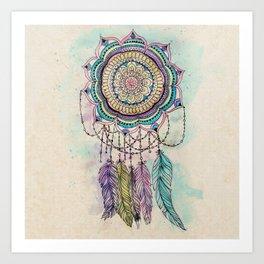 Modern tribal hand paint dreamcatcher mandala design Art Print