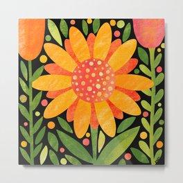 Textured Sunflower Metal Print