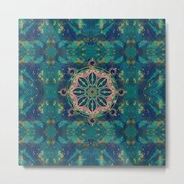 Dharma Wheel - Dharmachakra Gemstone & Gold Metal Print