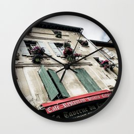 French Cafe | Desaturated Pizzeria Creperie Restaurant Red Awning Old Building Architecture Wall Clock