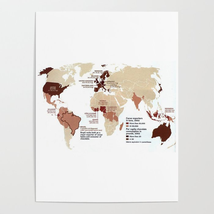 Cocoa Chocolate Around the World Export Map Poster by logicaltoad on cocoa production map, chocolate map, pineapple map, yerba mate map, atlantic ocean map, nepal map, caffeine map, purple map, potato map, tobacco map, avocado map, tomato map, cocoa tree map, brown map,