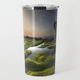 Sunset on Rocky Seashore Travel Mug