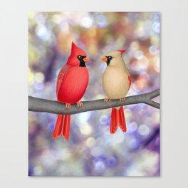 cardinals on a branch - bokeh Canvas Print