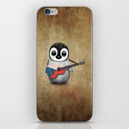 Baby Penguin Playing Czech Flag Acoustic Guitar iPhone Skin