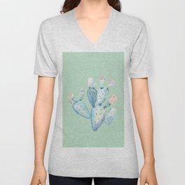 Rose Desert Cactus Light Mint Green by Nature Magick Unisex V-Neck