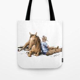 Siesta   Sleeping Horse & Cowboy Tote Bag