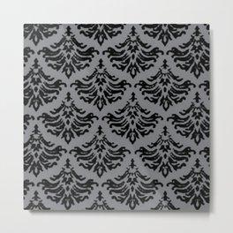 Vintage Damask Brocade Sharkskin Metal Print