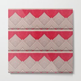 Red and Grey Deco Geometric print Metal Print