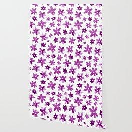 Watercolor Purple Florals Wallpaper