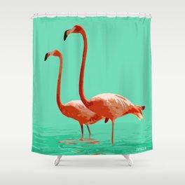 Flamingos on Sea Green Shower Curtain