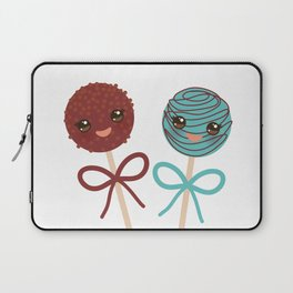 cute funny kawaii chocolate and blue Sweet Cake pops set with bow on white background Laptop Sleeve