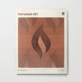 "Ray Bradbury ""Fahrenheit 451"" - Minimalist illustration literary design, bookish gift Metal Print"