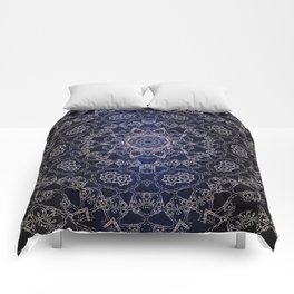 Glowing Nirvana Mandala On Deep Blue Textured Background Comforters