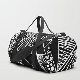 Black white geometric trendy artistic stripes polka dots Duffle Bag