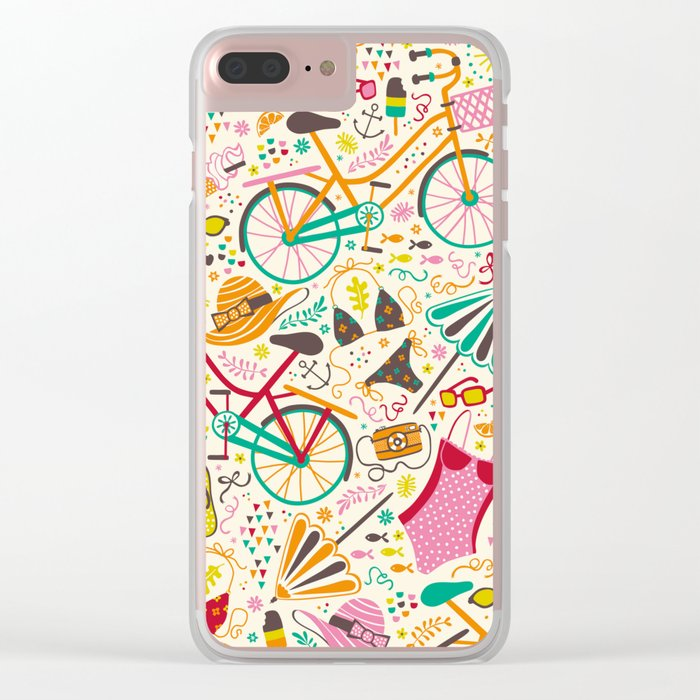 Seaside Cycle Clear iPhone Case