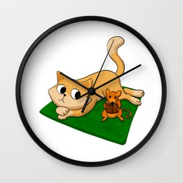 Cat and mouse reading book Wall Clock